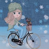 French Terry Panel Wintermädchen blau